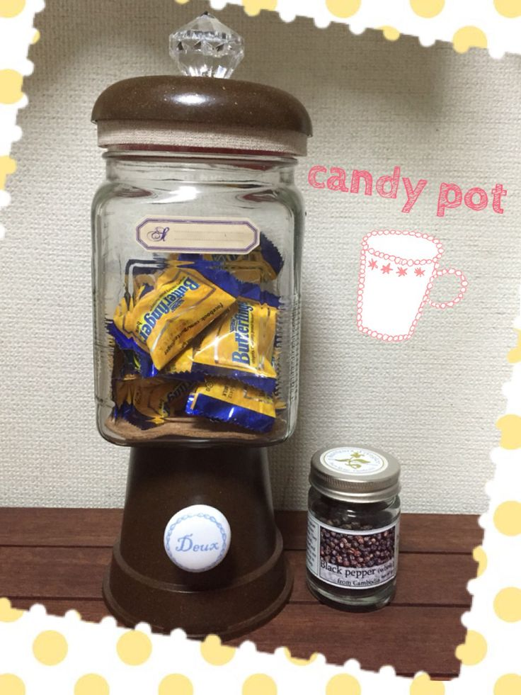 a candy pot made of 4 parts that I bought at Selia, 100 yen shop