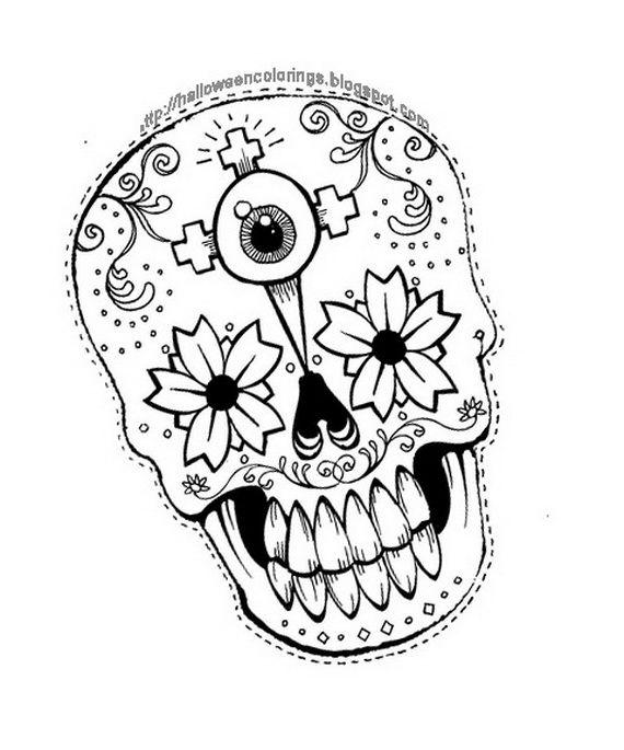 Halloween Coloring Pages Skulls. Day of the Dead dia de los muertos Sugar Skull coloring page for adults  Kleuren voor 466 best images on Pinterest skulls