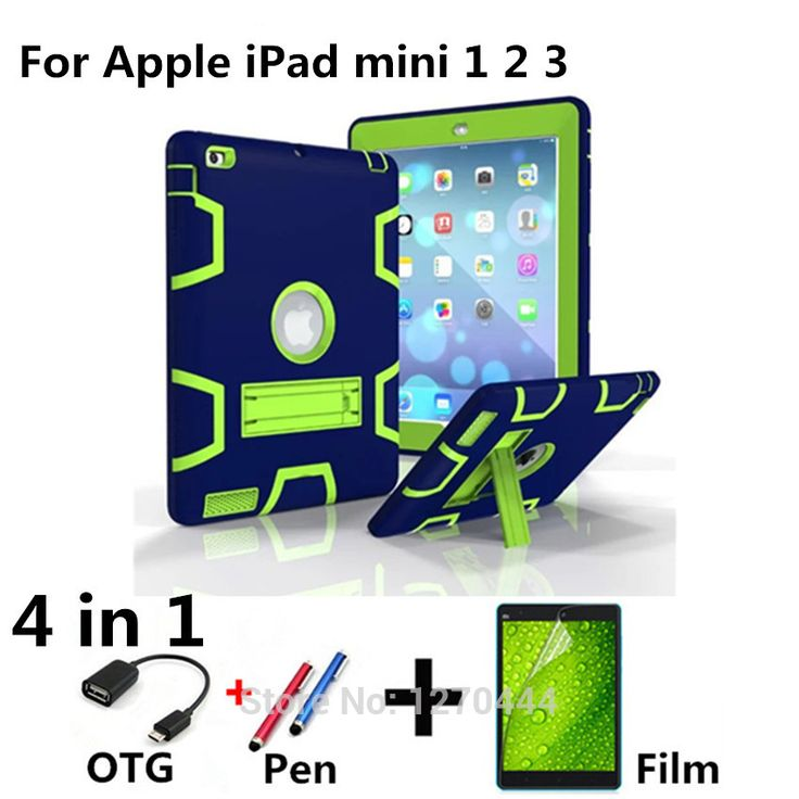 New Retina Kids Baby Safe Armor Shockproof Heavy Duty Silicone Hard Case Cover For Apple iPad mini 1 2 3 Tablet PC+Film+Pen+OTG