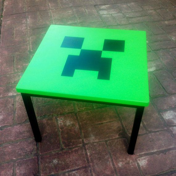 Minecraft *CREEPER* table, upcycled vintage on Etsy, $77.51