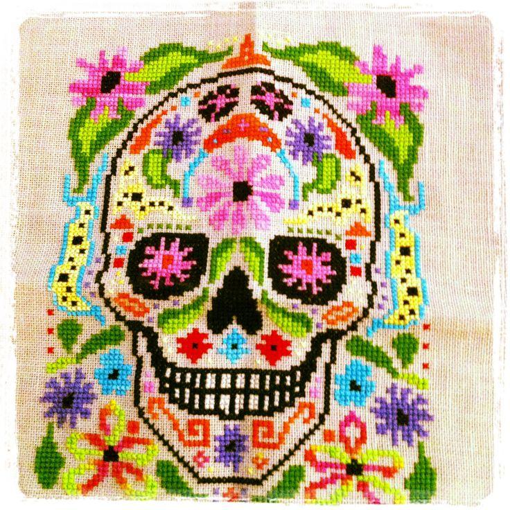 Sugar skull cross stitch