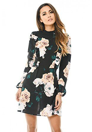 Black High Neck Floral Long Lantern Sleeve Mini Dress