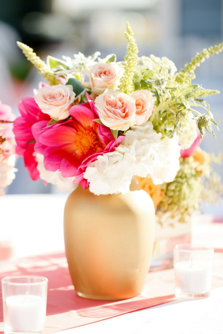Matte gold flower vase centerpiece with colorful blooms #gold #goldwedding #centerpiece #decor #flowers