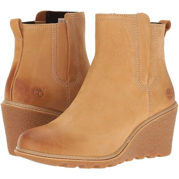 Timberland Amston Chelsea Boot (Wheat Nubuck) Women's  Boots (€59) ❤ liked on Polyvore featuring shoes, boots, ankle boots, tan, timberland boots, wedge heel boots, tan wedge boots, chelsea boots and platform wedge boots