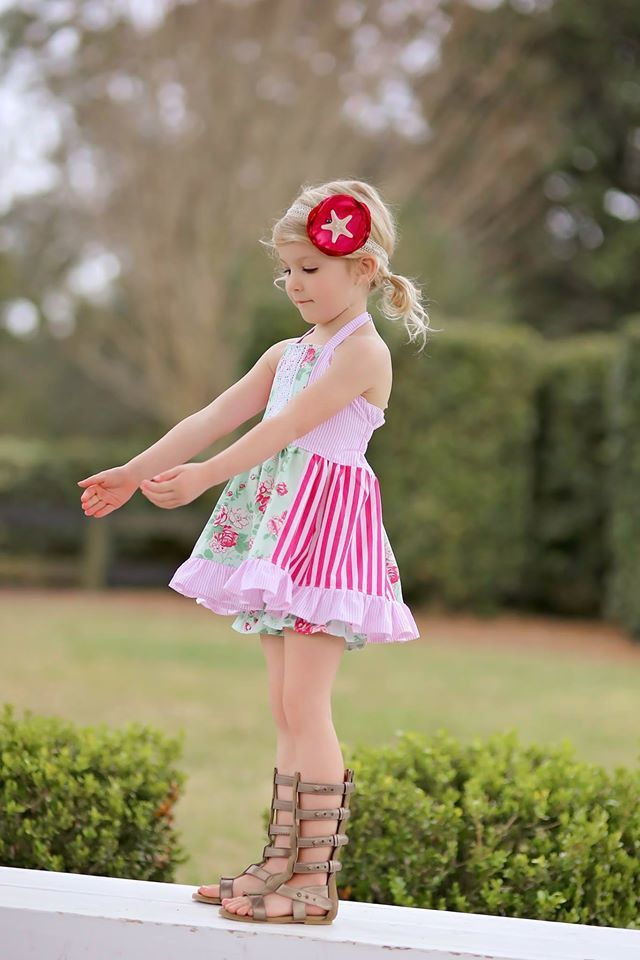 Girls Mia Halter Tunic & Dress PDF Sewing Pattern by Ellie and Mac | Girl's Patterns | #ellieandmacpatterns #MiaHalter #sewing