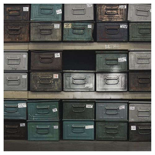 5. PRODUCT STORAGE IDEAS D. Containers 2. boxes - vintage metal filing boxes