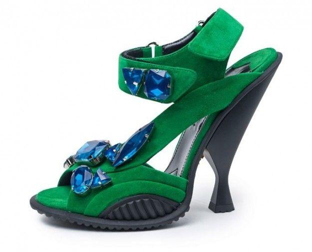 Sandali verdi con pietre Prada