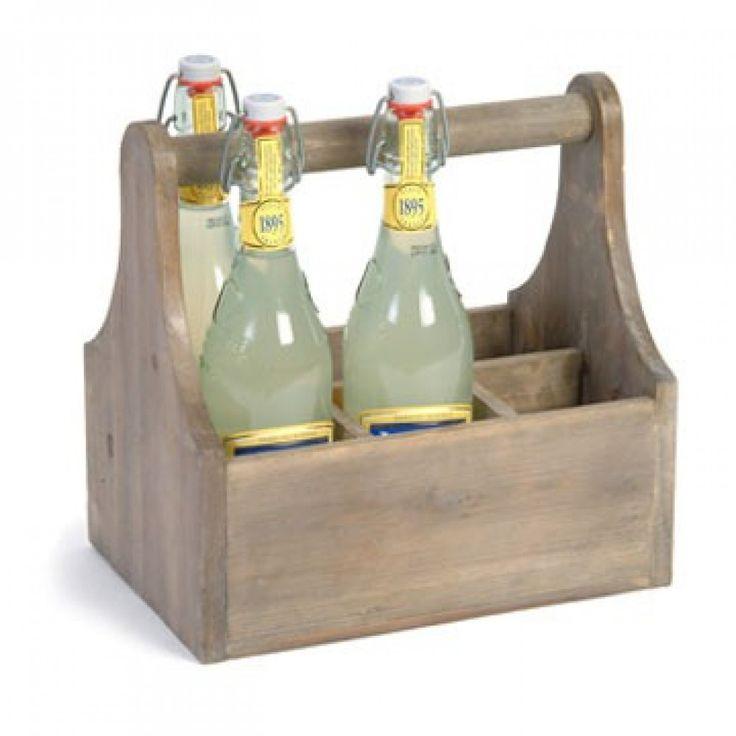 wooden bottle cutlery and glass carrier storage. Black Bedroom Furniture Sets. Home Design Ideas