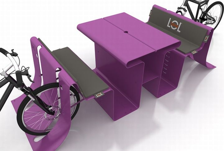 Street furniture by LOL bike. Simple two-in-one combo is innovative and could be an attractive feature to a commercial district.