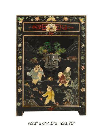 Chinese Wood Kid Scenery End Table / Night Stand - Golden Lotus Antiques  650-522-9888 goldenlotusinc@yahoo.com #endtable #nightstand #lamptable #livingroom #diningroom #interior #home  #furniture