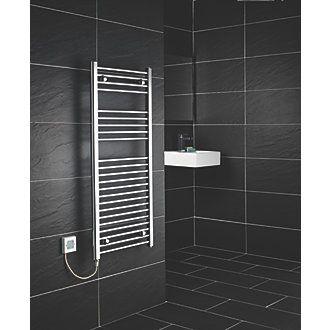 Flomasta Flat Electric Towel Radiator Chrome 1100 x 500mm 250W 853Btu | Electric Towel Rails | Screwfix.com