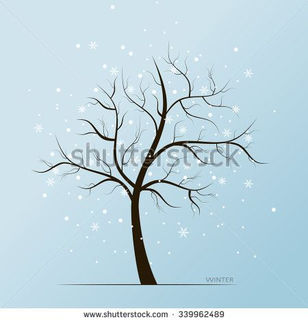 Vector winter blue background with white snow flakes and tree without leaves - stock vector