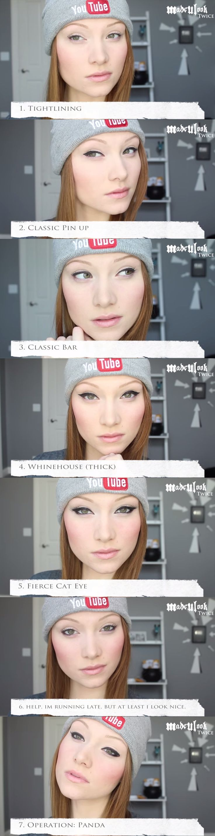 Seven Different Eyeliner Application Tutorial by MadeULook Twice [youtube]