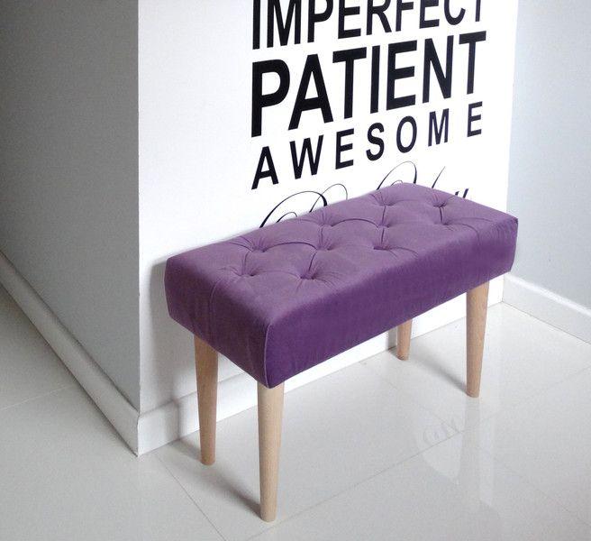 Pikowana ławeczka pufa ławka podnóżek WELUROWA w HouseBerry na DaWanda.com