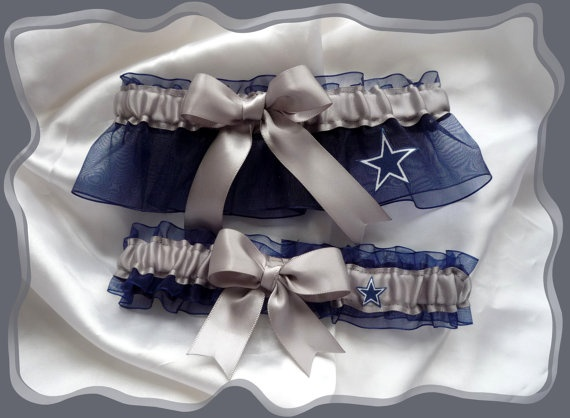 Dallas COWBOYS Silver Ribbon Wedding Garter Set by TheArtofSports, $24.99