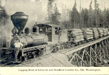Logging Train at Elk, WA.  From the WSRHS website (Washington State Railroad History)