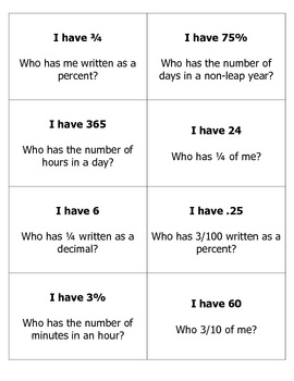 Fractions, Decimals, and Percents I Have... Who Has...