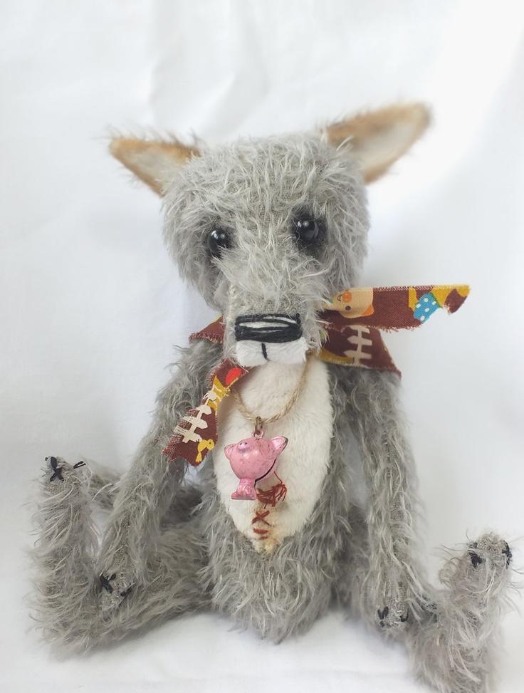 Big Bad Wolf Cub TROUBLE Mohair Vintage style artist teddy bear aged soft toy…