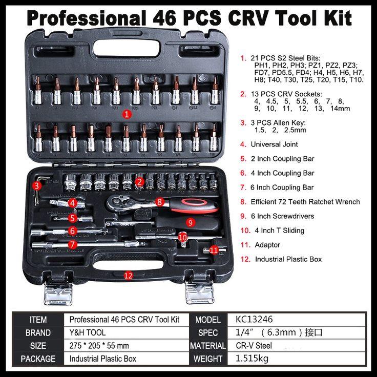 Alta calidad 46 unids/set mano juegos de herramientas de reparación de automóviles herramientas de combinación llave de trinquete conjunto de herramientas de coche kit de herramienta de Mano caja