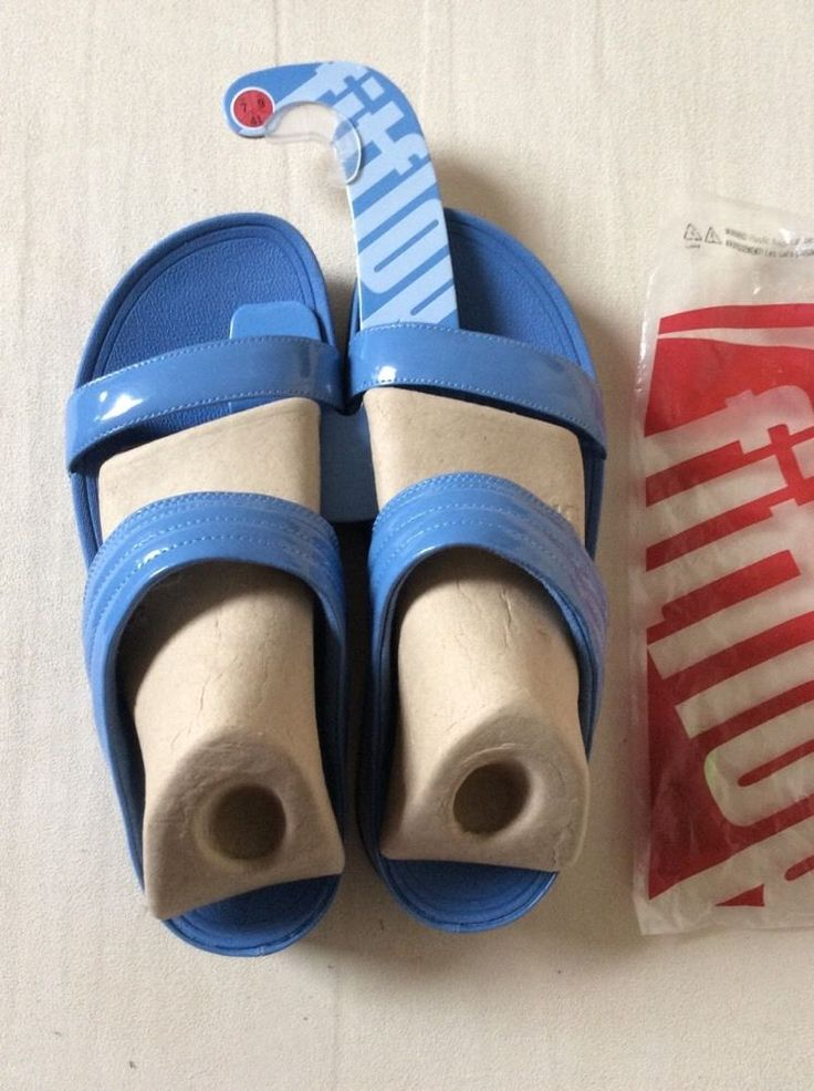 FITFLOP Genuine Womens Blue Patent Slide UK7 EU41 BNWT