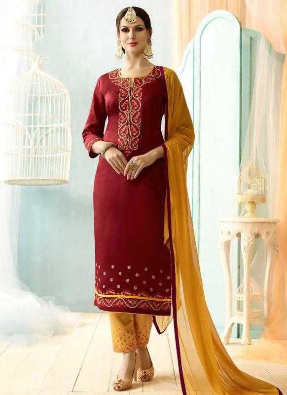 360d7545b6 Maroon Cotton Designer Party Wear Salwar Suit #designer #cotton #salwarsuit  #salwarkameez #fashion #ethnic #women #womensfashion #indianfashion #dress  ...