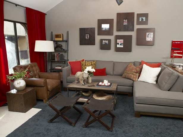 Contemporary living rooms from emily henderson on hgtv for Grey n red living room