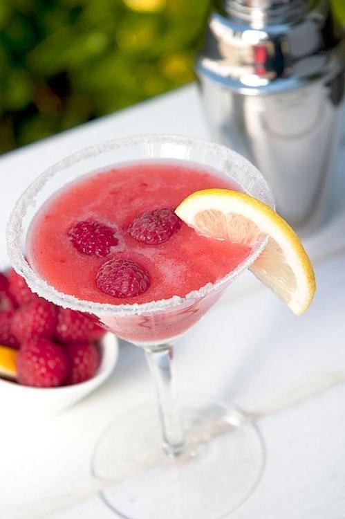 Raspberry Lemon Drop: 2 oz. Vodka, 2 tsp. Lemon Juice, 6 Raspberries, 2 tsp. Sugar, Splash of 7-up or Sprite