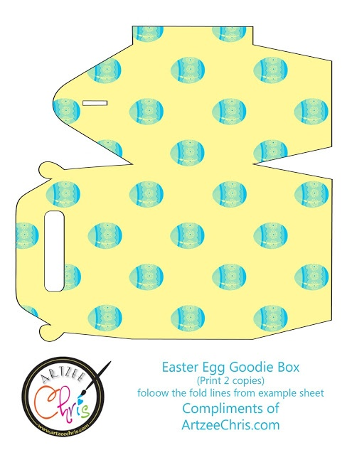 Fun Easter Egg Goodie Box Printable I just designed in light yellow with blue Easter Eggs.