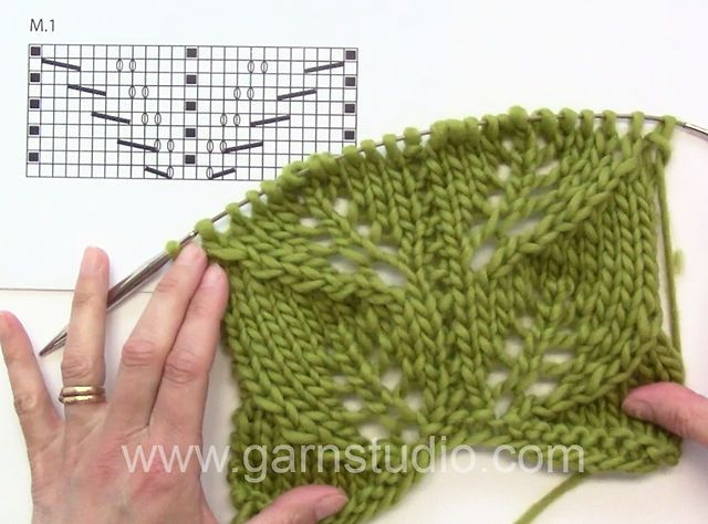 DROPS 139-3 and 4 - Lace pattern by Garnstudio Drops design. In this video we have already worked one repeat of the chart in height.