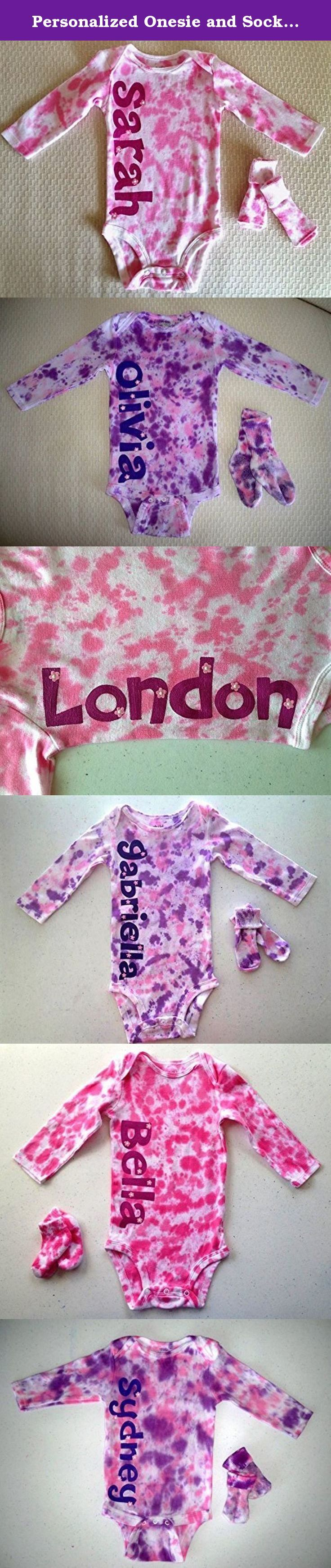 Personalized Onesie and Socks ~ Tie Dye & Hand Painted. This adorable 100% cotton Onesie has long sleeves and snaps on the bottom for easy changing. So cute tie dyed but even cuter with baby's name down the side! Matching socks are included. Dyes won't fade and are infant safe, paint is soft and non-toxic. Onesie is machine washable and will arrive wrapped in cellophane with attached washing instructions. If you are purchasing as a gift, I am happy to enclose a printed note at no…