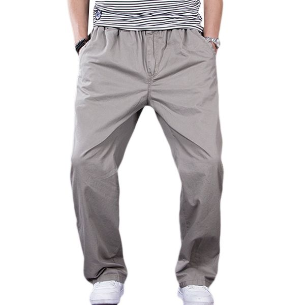 Sale 11% (28.26$) - Big Size Thin Casual Overalls Pants Men\'s Elastic Waist Drawstring Jogging Loose Sports Trousers