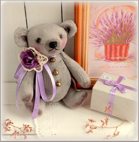 Fabric stuffed teddy bear soft toy small lavender от MyShopDolls