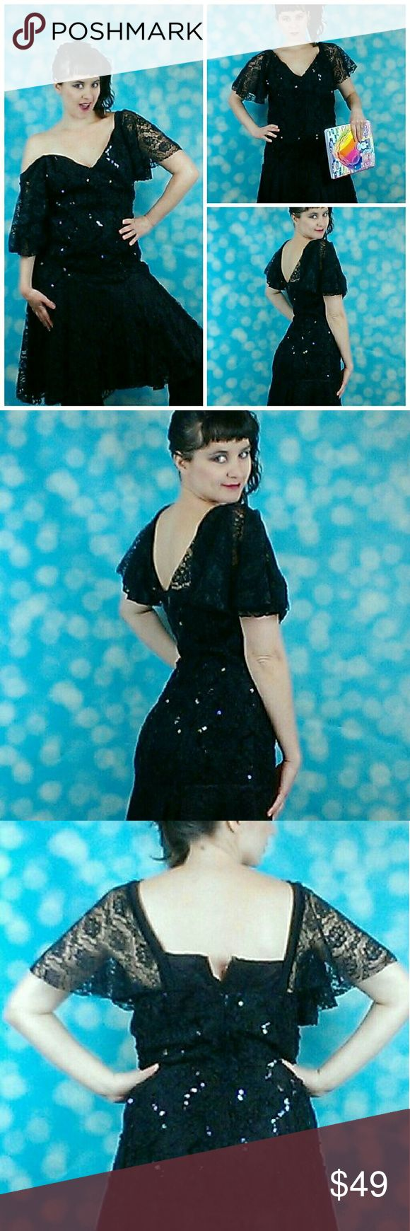 Vintage 80s black lace sequins prom party dress True vintage dress runs very small. Says it's a size 16 but might fit up to a size 10. Model is a size 4.  Gently pre-owned with no flaws. Someone wrote Eliza on one of the tags.  38 inches long. 32 inches at the waist. 34 inch bust. HW Collections Dresses Midi