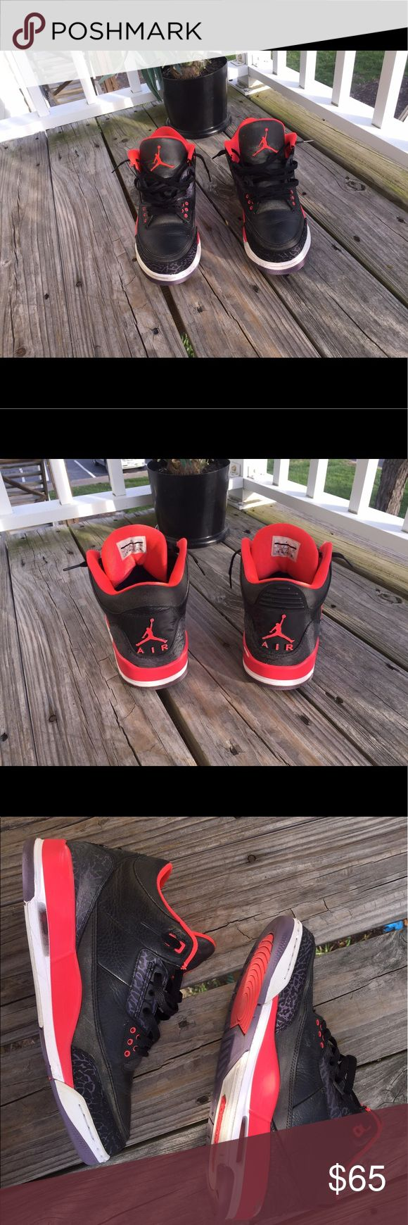 Air Jordan Retro 3 Crimson Size 11.. Flaws are clearly shown but overall these are in good condition considering price Jordan Shoes Sneakers