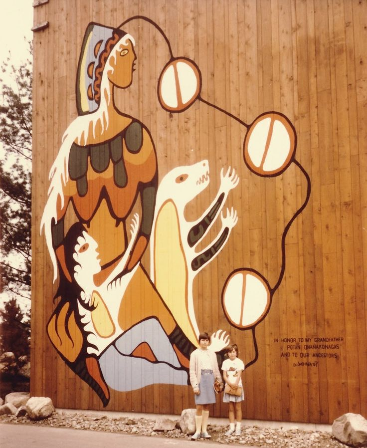Morrisseau was one of the Indigenous artists commissioned to to design the Indians of Canada Pavilion at Expo 67, but left the project when government officials deemed his mural design of bear cubs nursing from Mother Earth to be too controversial. His mural is pictured here. #ArtCanInstitute