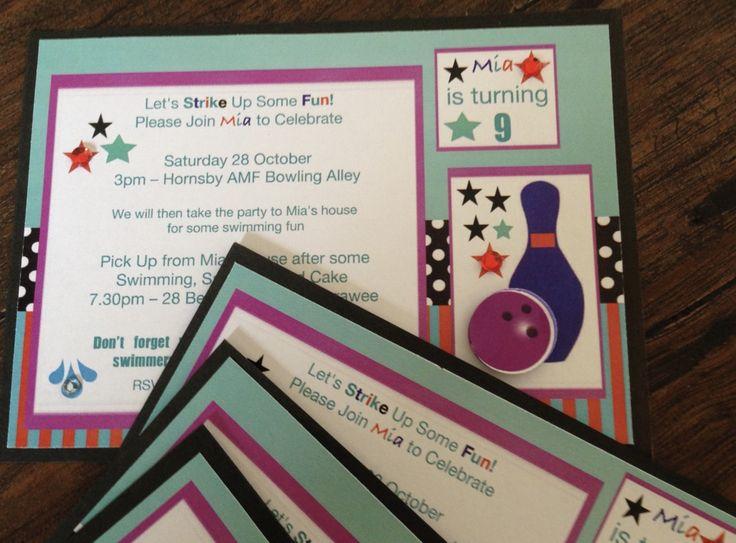 Bowling Party Invitations-handmade