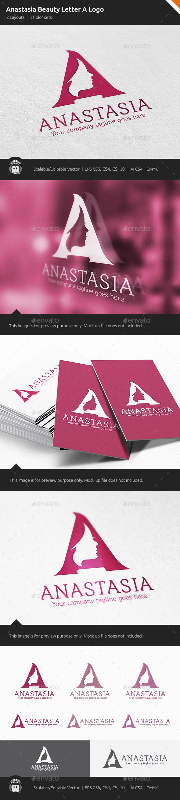 Anastasia Woman Letter A Logo — Vector EPS #wellness #cute • Available here → https://graphicriver.net/item/anastasia-woman-letter-a-logo/10822584?ref=pxcr