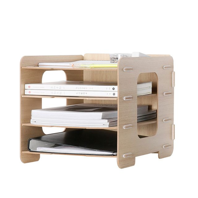 Wooden Office Organizer A4 Paper File Holder 5 Color 4 Layers Multi Use Sundries Storage Box Eco W Wooden Desk Organizer Desk Paper Organizer Cardboard Storage