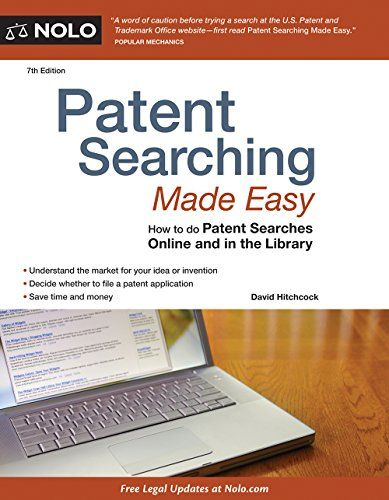 Patent Searching Made Easy: How to do Patent Searches Online and in the Library:   <b>Inventor? Find out if you're the first to file a patent, online and in the library</b><br /><br /><br /><br /><br /><br />In the past, if you wanted to assess the novelty of an idea, you had to wade through the patent database at the U.S. Patent and Trademark Office (PTO) in Virginia -- or hire a lawyer to do a patent search for $500 and up. The cost and inconvenience of these searches often meant tha...