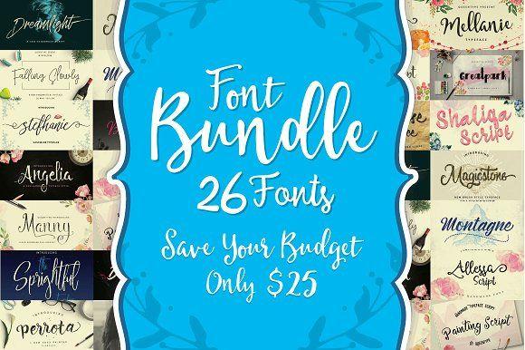 Font Bundle - 95% OFF by QueenType on @creativemarket