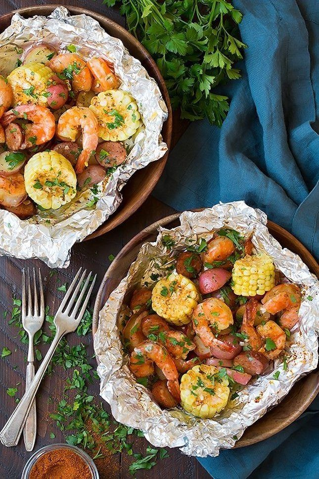 There won't be any mess to clean up with this Grilled Shrimp Boil Packet recipe.