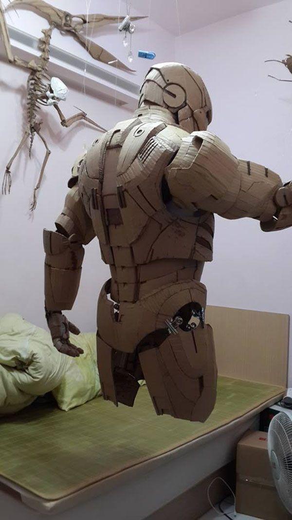 Cardboard Iron Man Suit - by Kai -Xiang Xhong.  We thing he's missing something....!