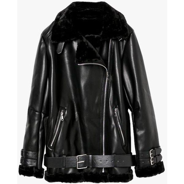 Black Faux Leather Oversized Moto Jacket ($187) ❤ liked on Polyvore featuring outerwear, jackets, black, faux-leather jacket, faux leather motorcycle jacket, biker jacket, zip jacket and collar jacket