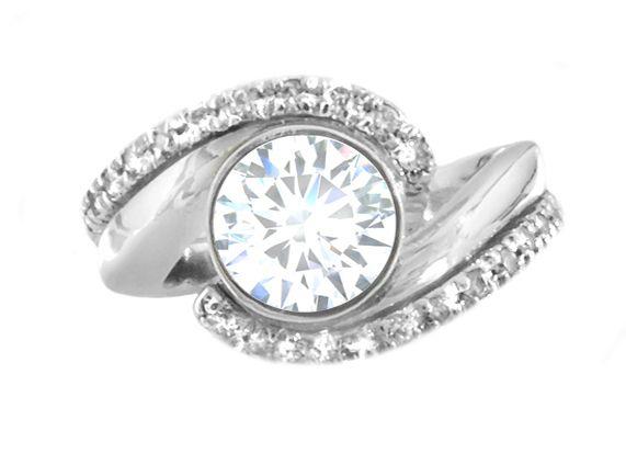 Estate Platinum Bezel Set Engagement Ring   Howard - Fine Jewellers & Custom Designers