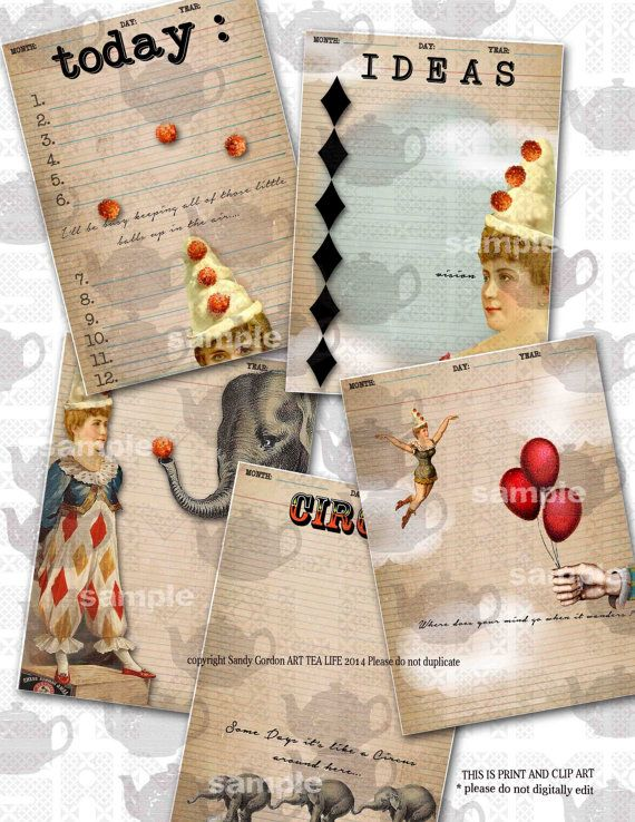 27 best do it yourself journal kits images on pinterest journals art tea life 5 x 7 circus journal 9 page set by onecrabapple 1695 solutioingenieria Choice Image