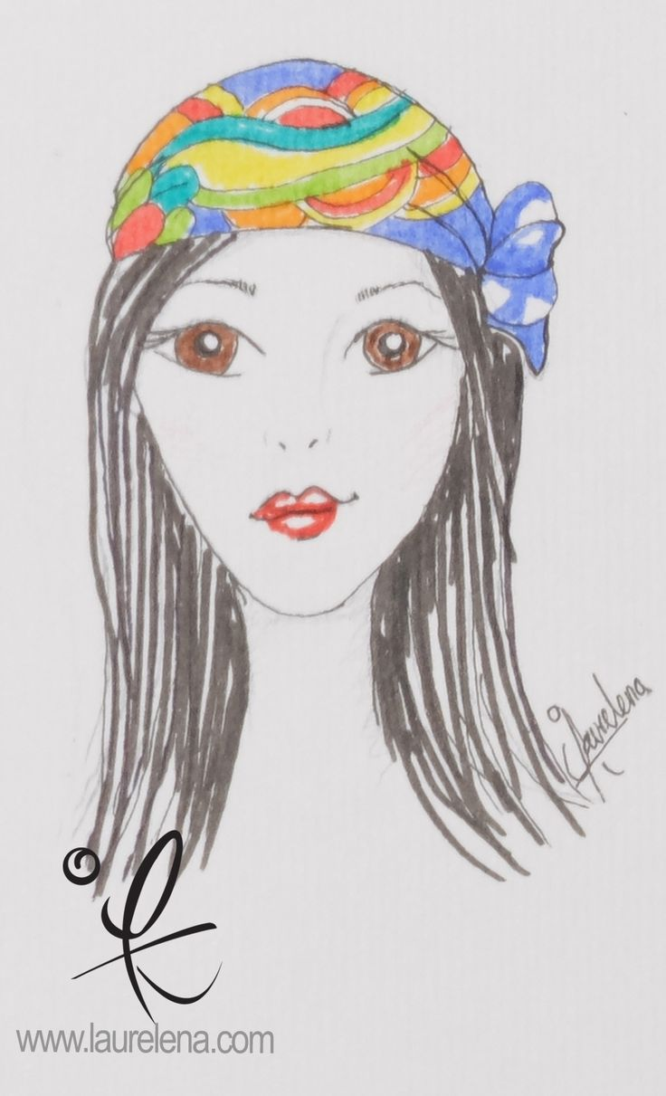 #Sketch of Silk Hand Painted #Scarf by Laurelena Scarf Quetzalcoatl Model Edit