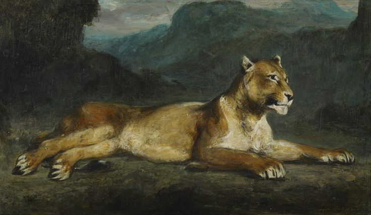 Eugene Delacroix Poster - Lioness Reclining