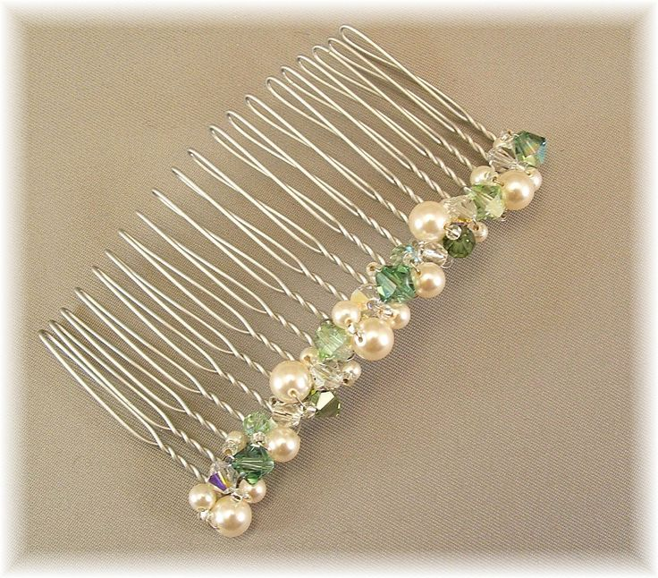 Wedding Hair Accessories, Clover Green Bridal Party Hair Comb, Green Weddings, Lush Greens and Cream Pearl Mix, 3 inch width. $29.00, via Etsy.