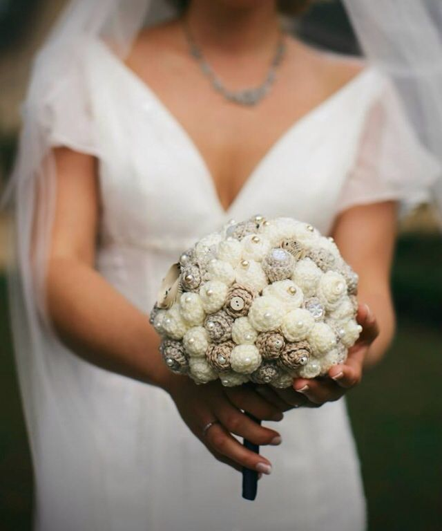 Crochet wedding bouquet with buttons, beads and vintage brooches: