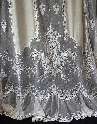 Maria Niforos - Fine Antique Lace, Linens & Textiles : Antique Linen # LI-124 Exquisite Pair of Fine Silk & Tambour Lace Curtains